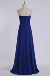 Classic Prom Dresses Strapless A Line Chiffon Floor Length With Ruffles And Beads