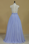 High Neck A Line Prom Dresses Chiffon With Applique And Beading Floor Length
