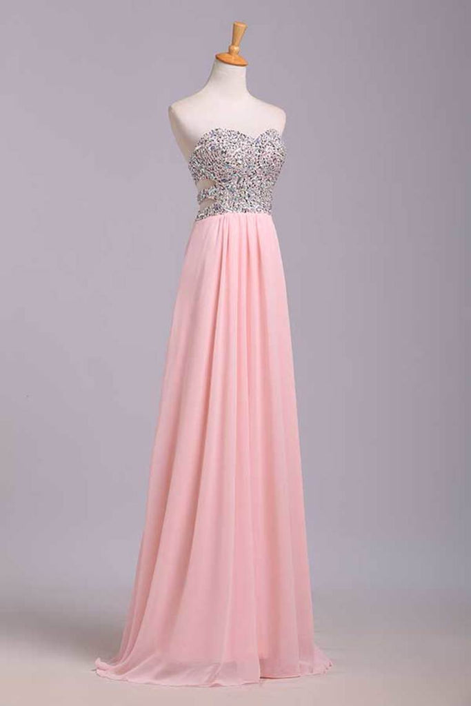 Prom Dresses A-Line Sweetheart Chiffon Floor Length With Beading/Sequins