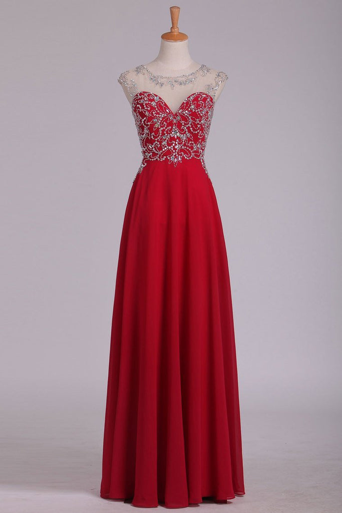 Prom Dresses A Line Scoop Cap Sleeves Chiffon With Beading Floor Length
