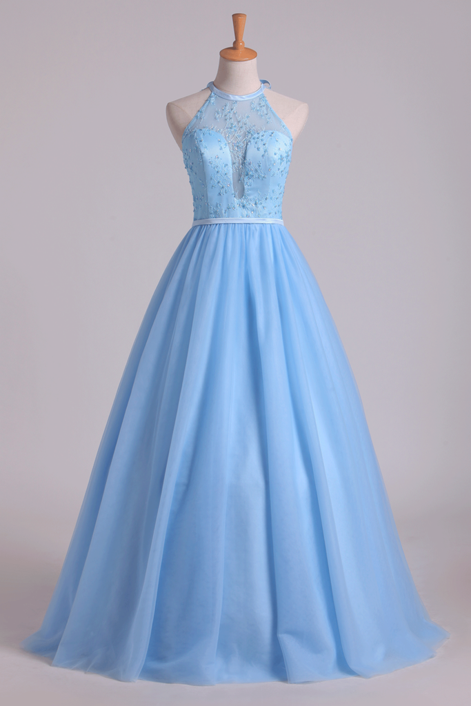 Halter A Line/Princess Prom Dresses With Long Tulle Skirt