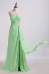 Prom Dress Column Beaded Floor Length With Slit And Ruffles