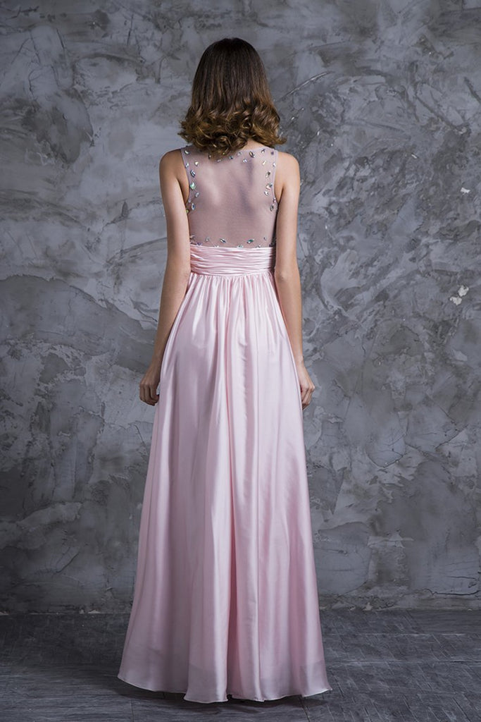 Sexy Prom Dresses Scoop Neckline Princess Floor Length Chiffon Beaded