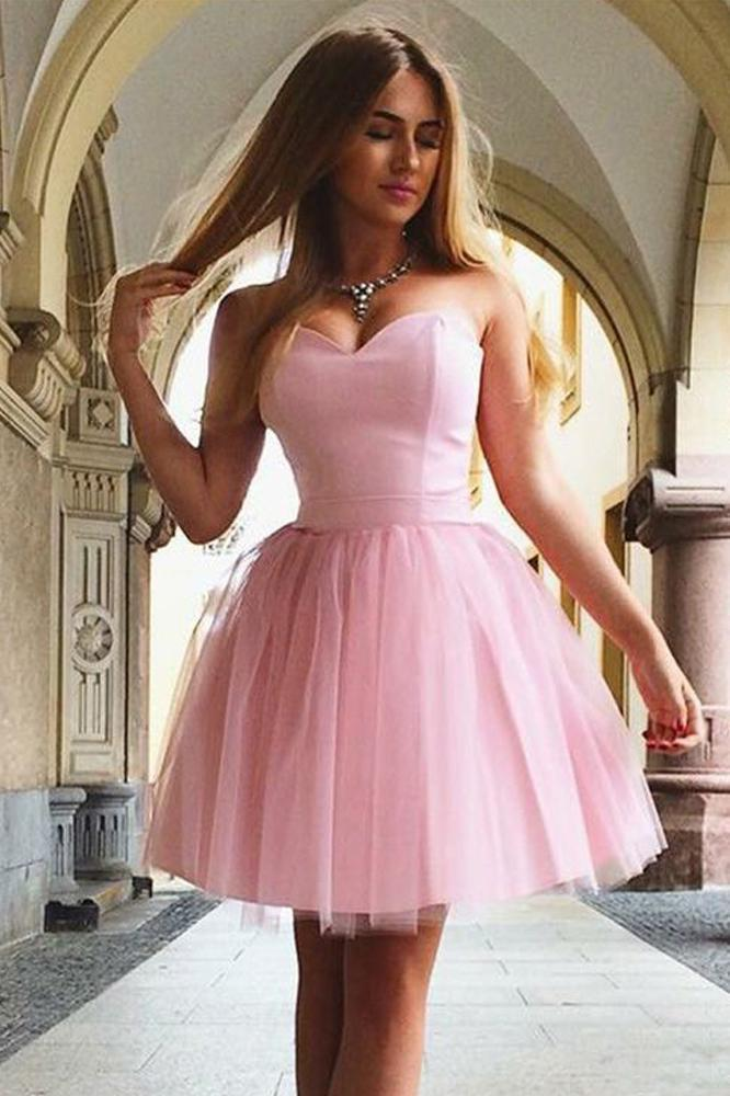 Cute A Line Sweetheart Strapless Tulle Pink Short Prom Dresses Homecoming Dresses
