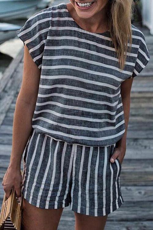 Allovely Casual Striped Keyhole Back Pocket One-piece Rompers