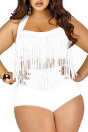 Allovely Halter Tassel Plus Size Swimwear Set