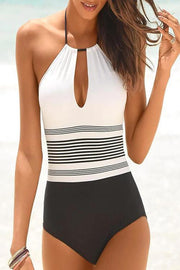 Allovely Halter Cutout Back Striped One Piece Tankini