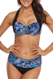 Allovely Print Splicing Push Up Bikini