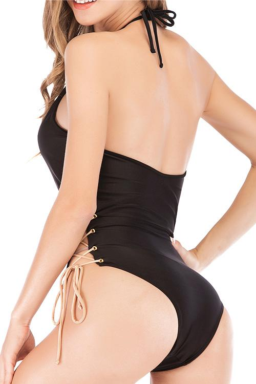 Allovely Crisscross Lace-up One-piece Bikini