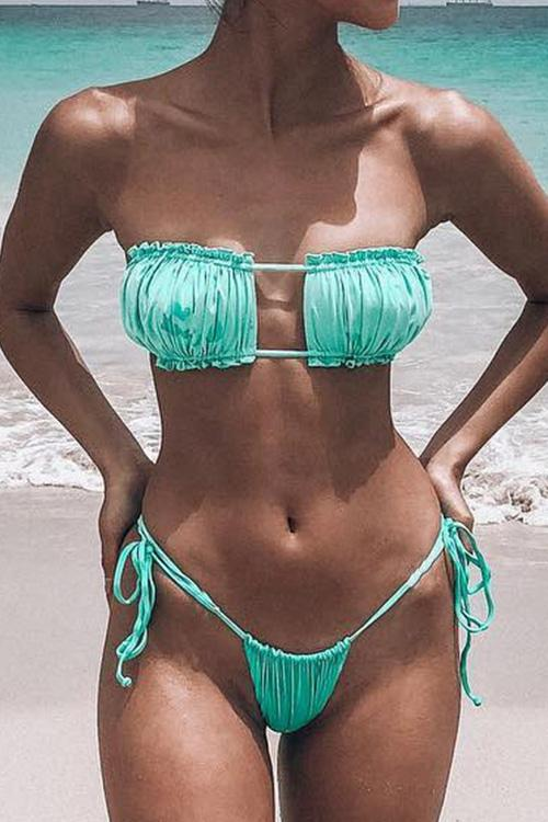 Allovely Spaghetti Straps Lace-up Ruched Bikini Set