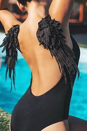 Allovely Wings Backless One-piece Bikini