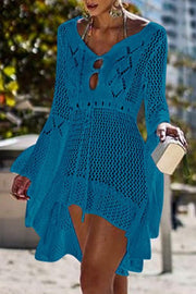Allovely Irregular Crochet Hollow-out Multicolor Cover Ups