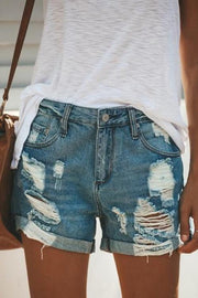 Allovely Denim Ripped Holes Shorts