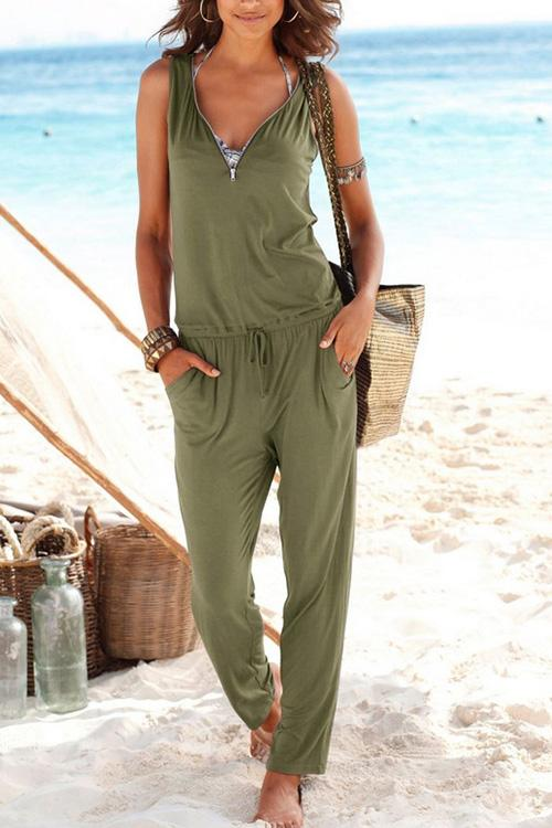 Allovely Front Zipper Pocket Jumpsuit