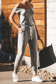Allovely Slim Off Shoulder Belted Pocket Jumpsuit