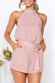 Allovely Polka Dot Belted Backless Romper