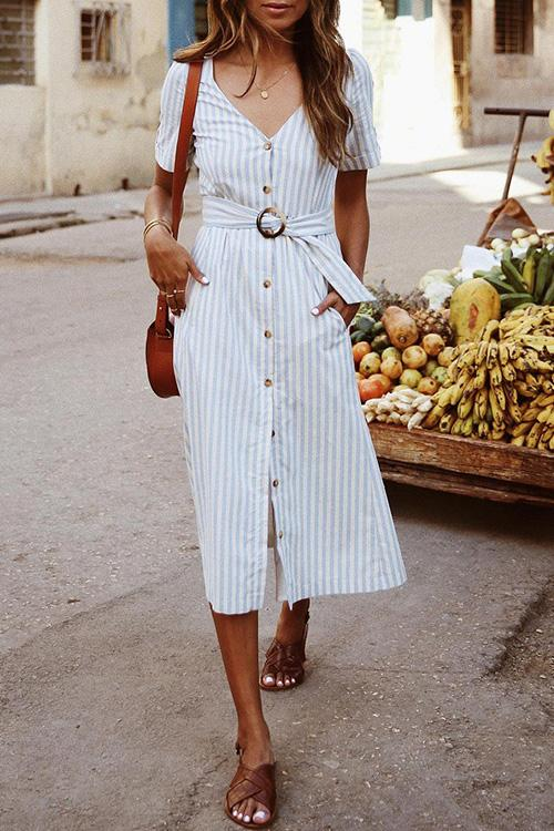 Allovely Trendy Belted Button Down Dress