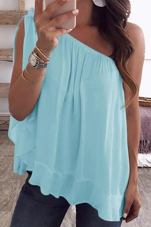 Allovely Chiffon One Shoulder T-shirt