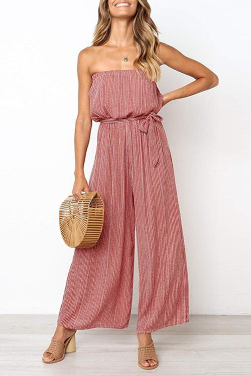 Allovely High Waist Belted Off Shoulder Jumpsuit