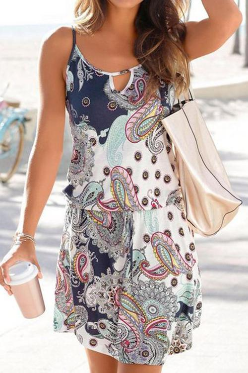 Allovely Floral Print Casual Mini Dress