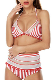 Allovely Halter Tassel Edges Embellished High Waist Bikini