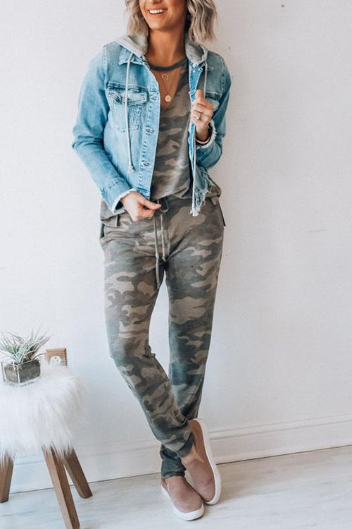 Allovely Camo Cut-out Top & Casual Pants