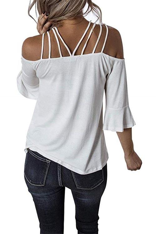 Allovely Spaghetti Straps Off Collar Flare Sleeve T-shirt