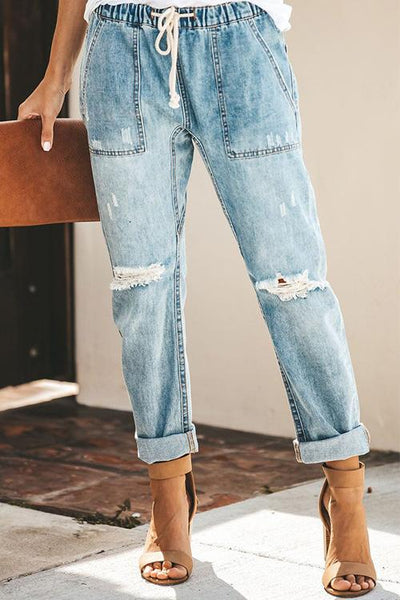 Allovely Curling Edges Pocket Jeans