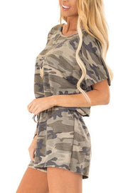 Allovely Camo Elastic Belt Romper