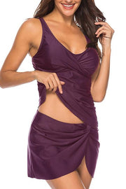 Allovely Stylish Ruched Slit Two-piece Tankini