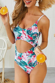 Allovely Print Cut-out One-piece Bikini