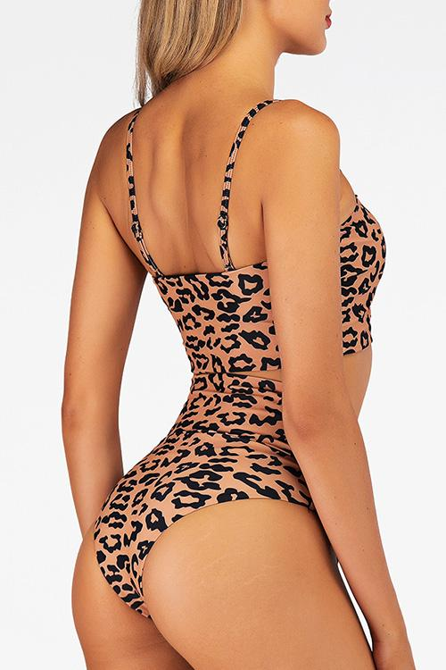 Allovely Leopard Print Front Bow-tie Bikini Set