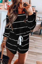 Allovely Stripe Off Shoulder Elastic Waist Romper