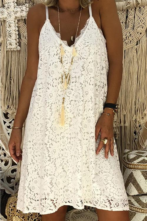Allovely Lacework V Neck Slip Dress