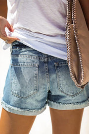 Allovely Distressed Cuff Shorts