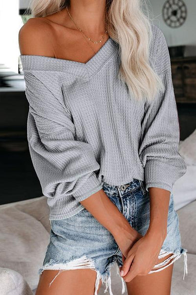 Allovely Lantern Sleeve Casual Sweater
