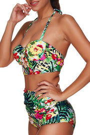 Allovely Tropical Floral Printed Halter Neck Bikini