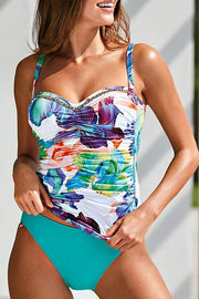 Allovely Flora Print Ruched Tankini