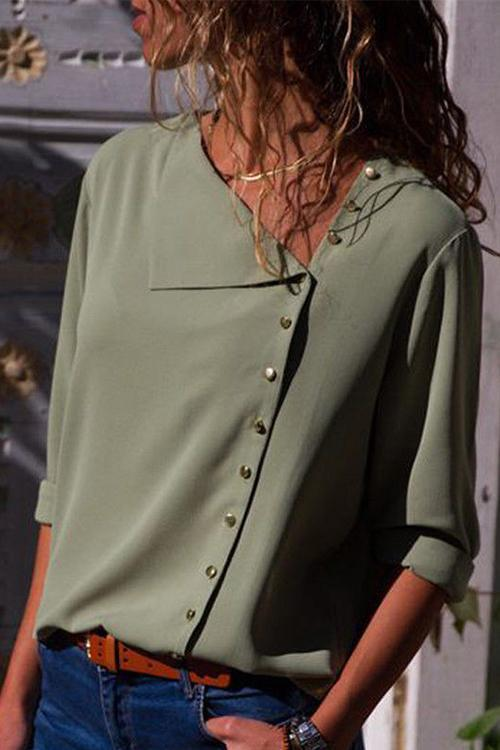 Allovely Solid Button Embellished Casual Blouse