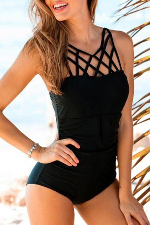 Allovely Chic Crisscross Straps Tankini