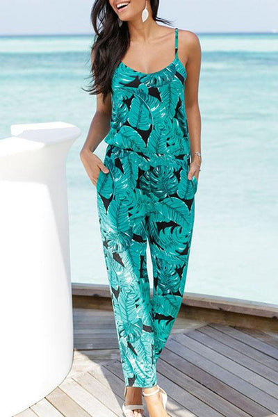 Allovely Sling Printed Backless Jumpsuit