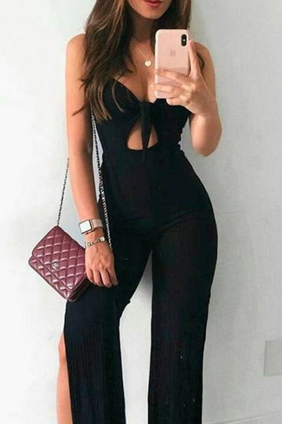 Allovely Tie Front Side Slit Jumpsuit