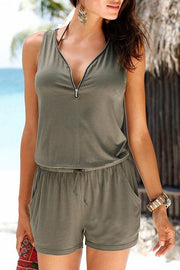 Allovely Sleeveless V-Neck Zip Romper