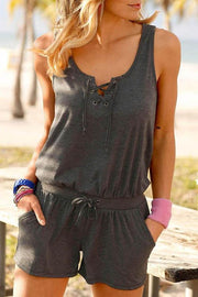 Allovely Rope Sleeveless Beach Romper