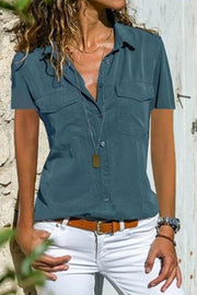 Allovely Lapel Short-Sleeve T-Shirt