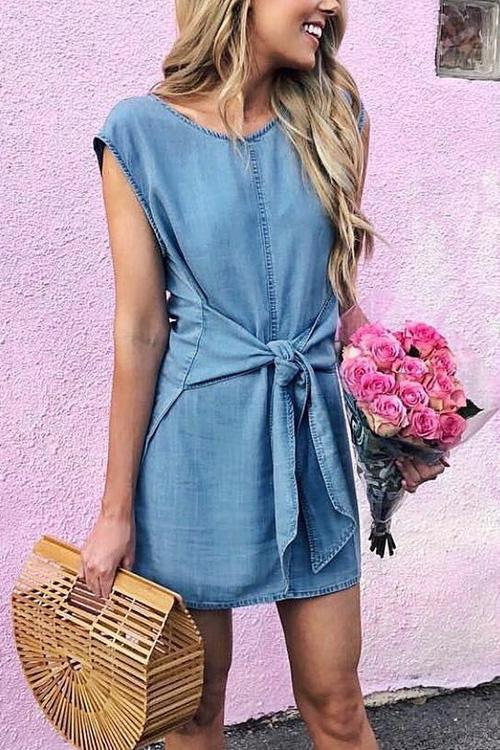 Allovely Denim Bow-tie Waist Dress