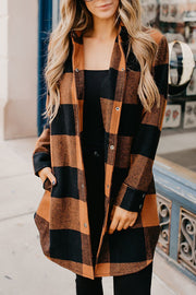 Allovely Turn-down Collar Pumpkin Plaid Shirt Coat