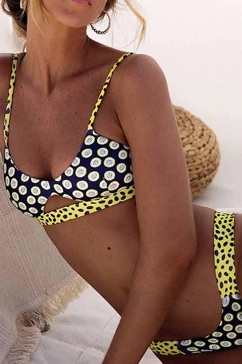Allovely Striped Polka Dot Cutout String Bikini