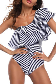 Allovely Stripe One Shoulder Ruffle Swimwear