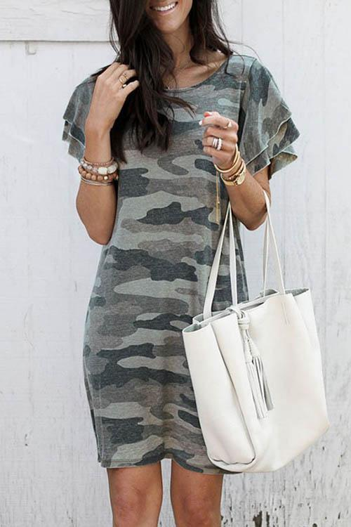 Allovely Pile Of Sleeves Camouflage Dress